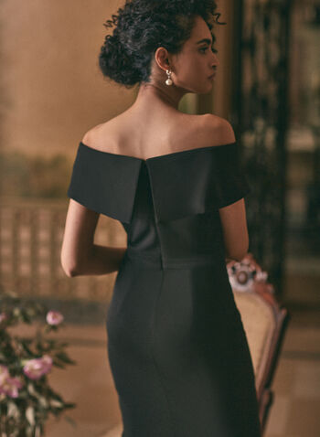 BA Nites - Illusion Detail Dress, Black,  evening dress, illusion, high low, off the shoulder, foldover, scuba crepe, spring summer 2021