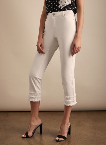 Fringed Denim Capris, White,  Spring summer 2020, stretchy denim, fringe detail pockets