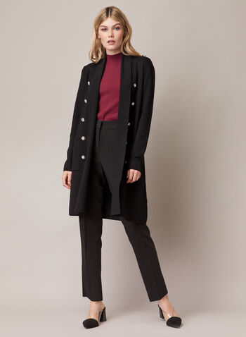 Button Detail Open Front Cardigan, Black,  cardigan, button details, open front, ribbed knit, long sleeves, fall winter 2020