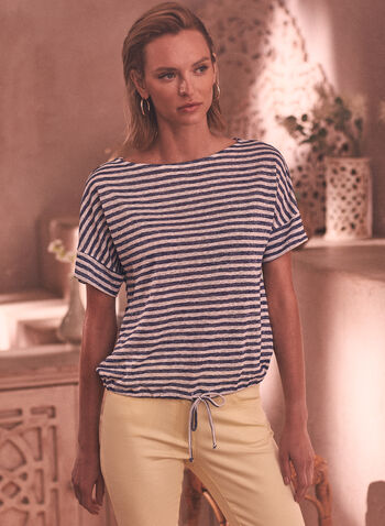 Stripe Print Tee, Blue,  spring summer 2021, tops, t-shirts, t shirts, made in Canada, striped, tie, knot, bow, scoop neck, round neck