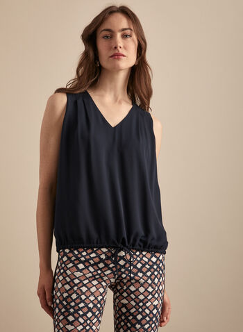 Sleeveless Balloon Hem Blouse, Blue,  top, blouse, pleated, sleeveless, v-neck, elastic, crepe, spring summer 2020