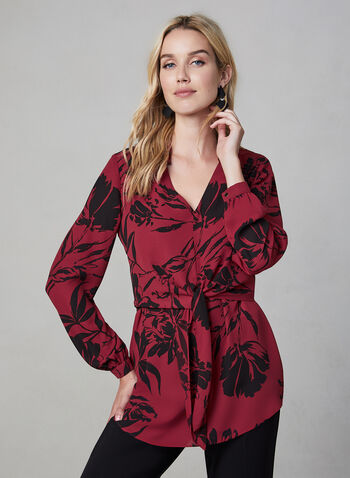 Floral Print Tunic Blouse, Red,  tunic, floral print, long sleeves, layered, crepe, tie detail, fall 2019, winter 2019