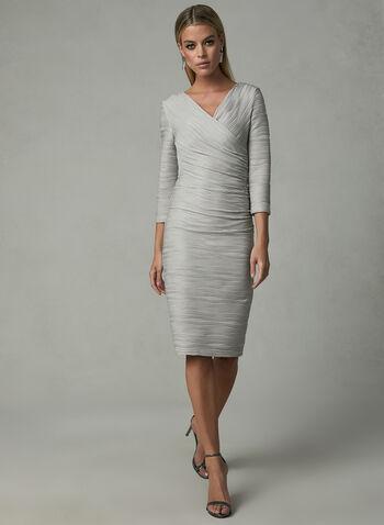 Joseph Ribkoff - Textured Sparkle Dress, Brown, hi-res