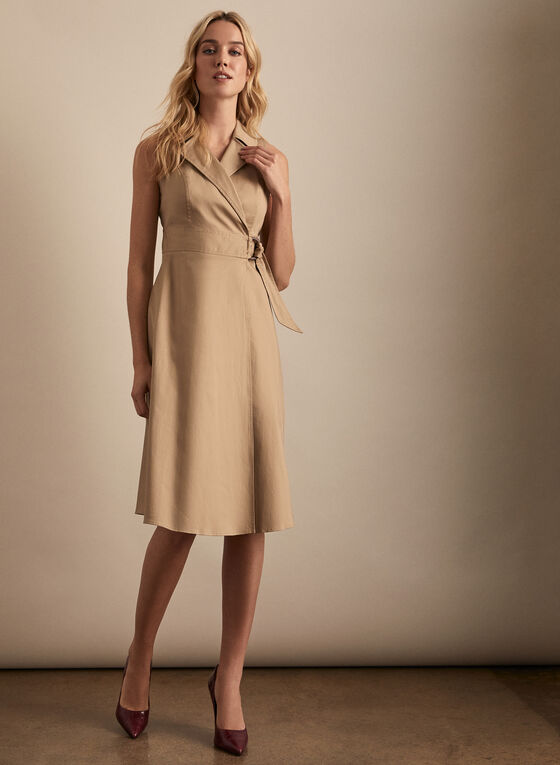 Maggy London - Robe portefeuille en coton, Vert