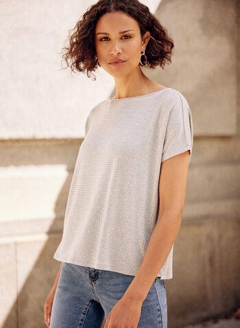Stud Detail Tee, Grey,  spring summer 2021, tops, t-shirt, t shirt, studs, rhinestones, beads, beaded, casual,