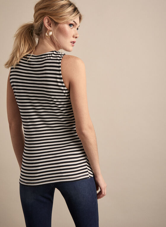 Mitred Stripe Top, White