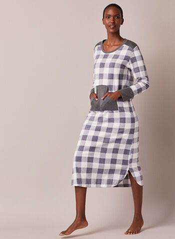 Plaid Long Sleeve Nightgown, Grey,  fall winter 2020, plaid, contrast, long sleeve, nightgown, nightshirt, scoop neck, contrast cuff, front pocket, rounded hem, side slits, pattern, comfort, stretch