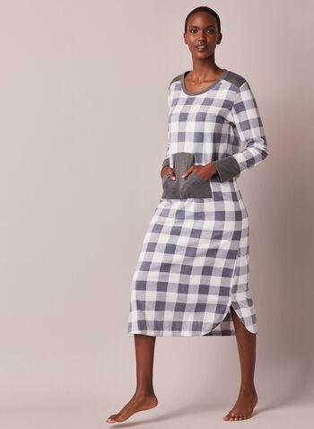 Robe de nuit carreautée à poche, Gris,  automne hiver 2020, pyjama, robe de nuit, chemise de nuit