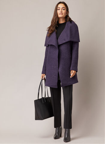 Single Button Boiled Wool Coat, Purple,  fall winter 2020, coat, jacket, envelope collar, boiled wool, shoulder pads, drape style