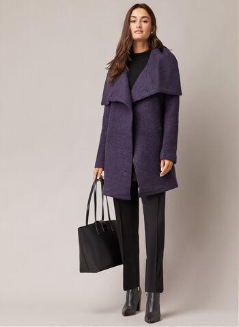 Manteau en laine bouillie à un bouton, Violet,  manteau, col à rabat, laine bouillie, poches, épaulettes, automne hiver 2020