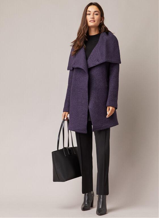 Manteau en laine bouillie à un bouton, Violet