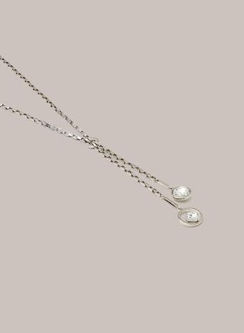 Collier à pendentif double cristal, Argent,  automne hiver 2020, collier, bijou, pendentif, cristaux, chaîne, accessoire