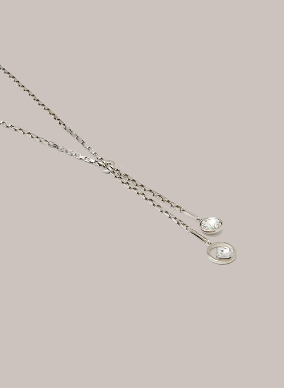 Double Crystal Pendant Necklace, Silver