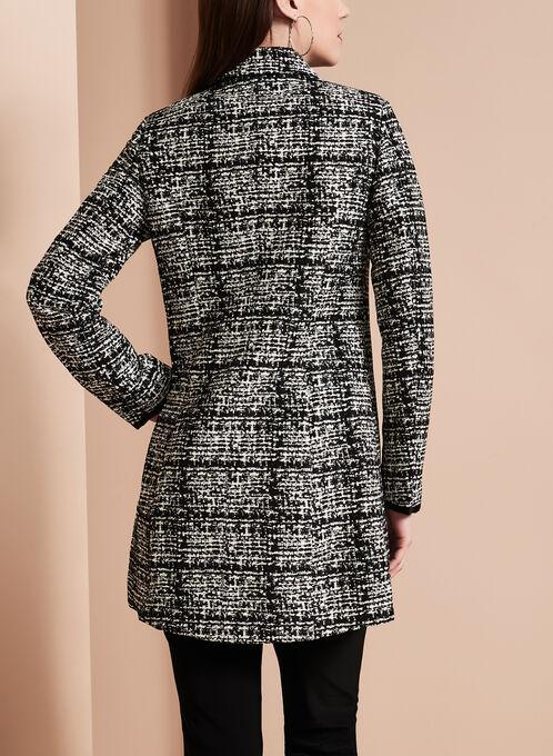 Novelti - Jacquard Tweed Banker Coat, Black, hi-res