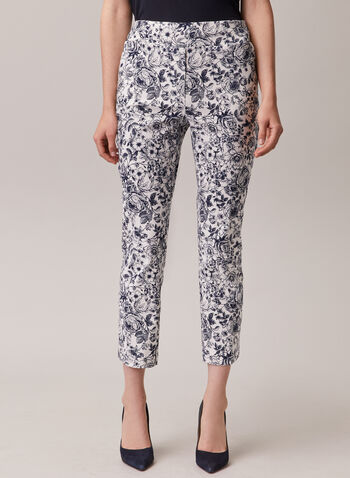 Chapter One - Floral Print Pull-On Capris, Blue,  capris, pull-on, bengaline, floral, spring summer 2020