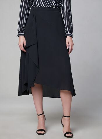 Cascading Midi Skirt, Black, hi-res