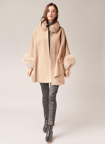 Mallia - Cape en laine, cachemire et fourrure, Brun,  cape, manteau, laine, cachemire, fourrure, automne hiver 2020