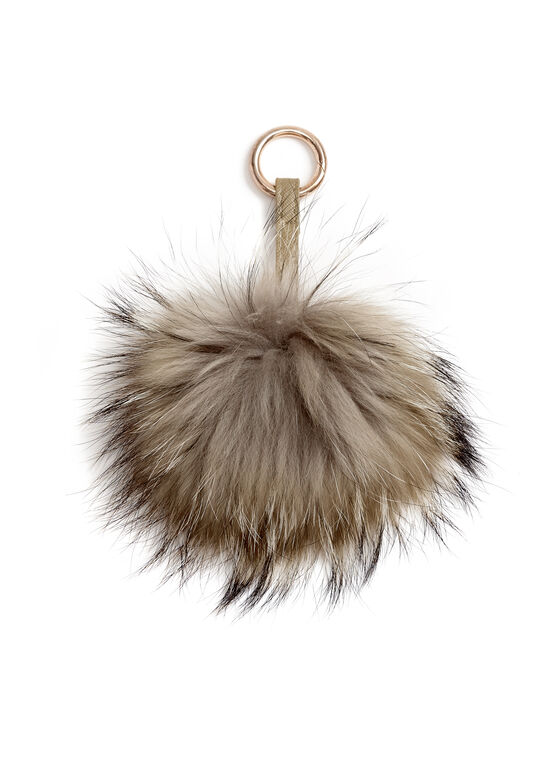 Fur Pom Pom Keychain, Brown, hi-res