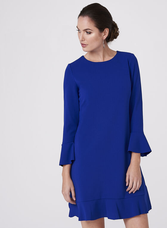 Maggy London - Robe en crêpe à volants, Bleu, hi-res