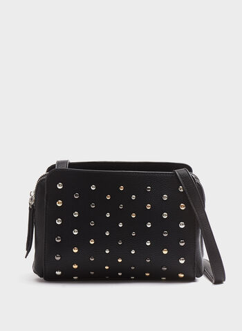 Studded Crossbody Purse, Black, hi-res