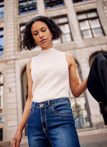 Camisole basique en tricot côtelé, Blanc cassé,  camisole, haut, basique, col montant, sans manches, détail en X, tricot côtelé, automne 2021