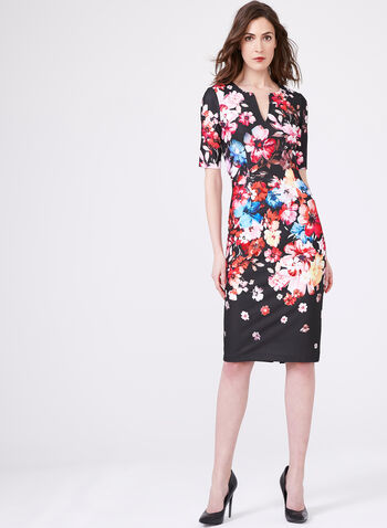 Adrianna Papell - Floral Print Sheath Dress, Black, hi-res