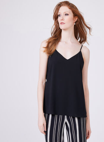 Sleeveless Crepe Camisole, Black, hi-res