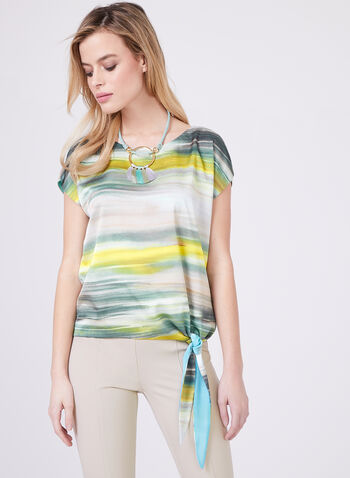 Blended Stripe Print Blouse, Blue, hi-res