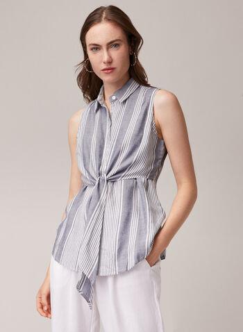Blouse sans manches à col chemisier, Bleu,  blouse, chemisier, noeud, sans manches, printemps été 2020