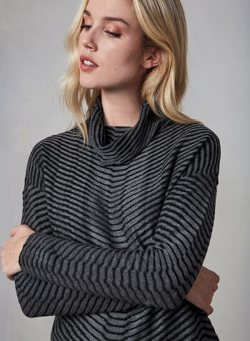 Linea Domani - Striped Top, Grey, hi-res,  top, long sleeves, stripes, funnel neck, fall 2019, winter 2019