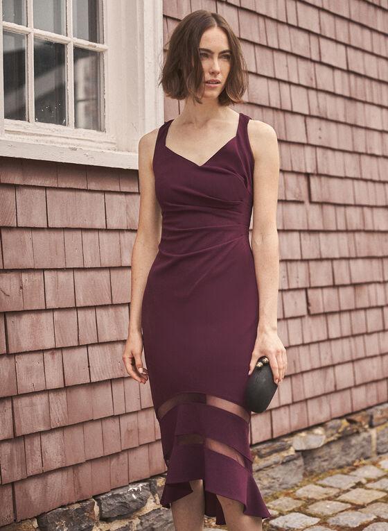 Adrianna Papell - V-Neck Flared Hemline Dress, Purple