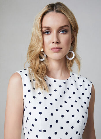 Eliza J - Fit & Flare Dot Print Dress , White, hi-res