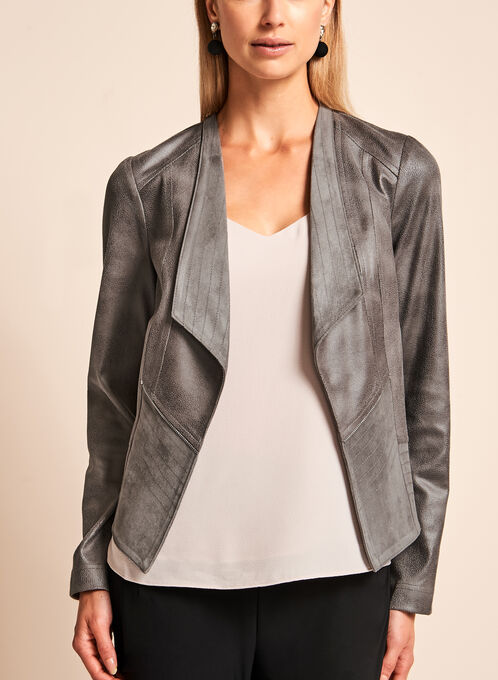 Vex - Open Front Faux Leather Jacket , Grey, hi-res