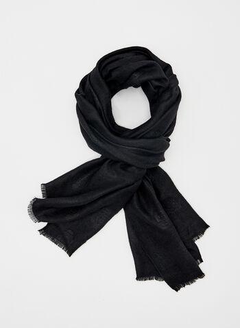 Foulard fleuri ton sur ton en jacquard, Noir, hi-res