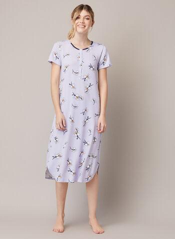 Robe de nuit à motif fleurs, Violet,  automne hiver 2020, robe de nuit, chemise de nuit, pyjama