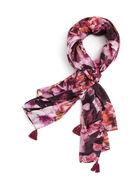 Floral Print Tassel Scarf, Red, hi-res