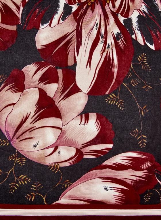 Square Floral Print Scarf, Black, hi-res