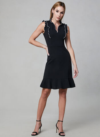 Karl Lagerfeld Paris - Ruffle Dress, Black, hi-res