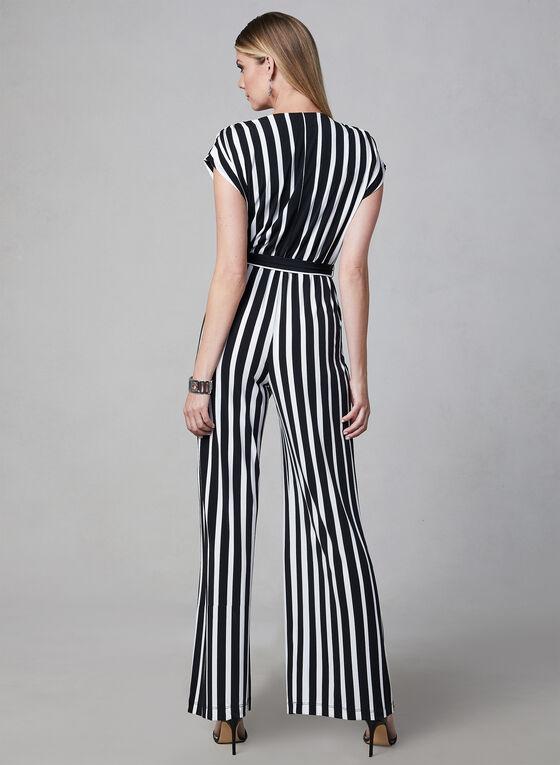 Sandra Darren - Stripe Print Jumpsuit, Black, hi-res