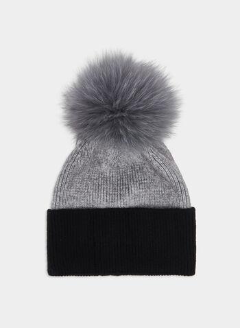 Bonnet à pompon de fourrure amovible, Gris, hi-res,  fourrure, fourrure véritable, fourrure de renard, automne hiver 2019