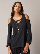 Balloon Sleeve Cold Shoulder Top, Black