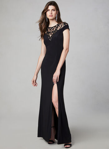 Adrianna Papell - Sequin Jersey Dress, Black, hi-res,  fall winter 2019, jersey, evening dress, gown, sequin