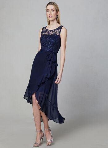 SD Collection - Illusion Neck Dress, Blue, hi-res,  chiffon, lace, asymmetric, sleeveless, sequin,belted, spring 2019