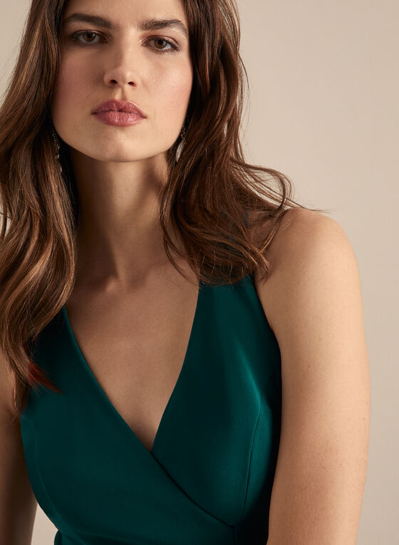 BA Nites - Sleeveless V-Neck Evening Dress, Green