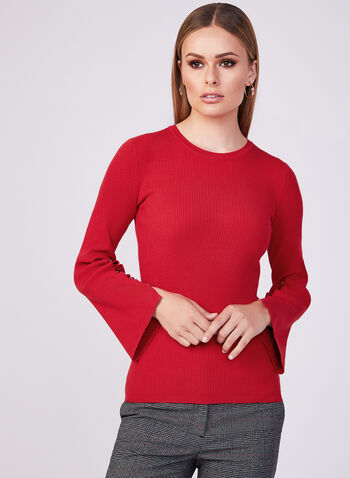 Bell Sleeve Knit Sweater, Red, hi-res