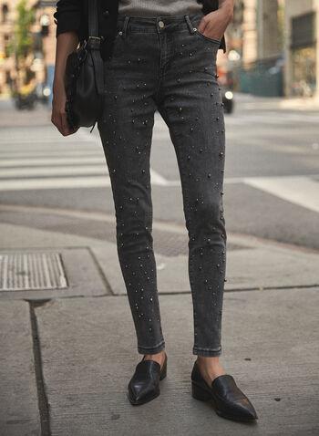 Jean à jambe étroite à détails de perles, Gris,  pantalons, bas, jeans, taille mi-haute, jambe étroite, poches, bouton, glissière, ganses pour ceinture, détails, perles, denim extensible, automne hiver 2021