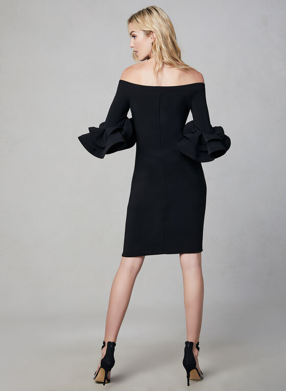Joseph Ribkoff - Large Ruffle Sleeves Dress, Black