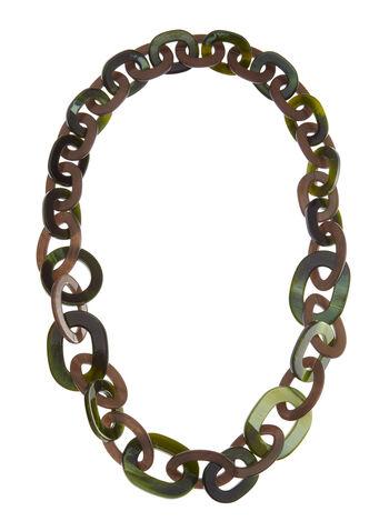 Lucite Link Necklace, Green, hi-res