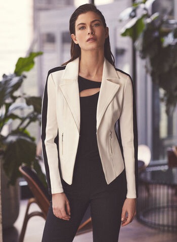 Notch Collar Contrast Blazer, Off White,  blazer, jacket, contrast, long sleeves, zipper, notch collar, ponte de roma, spring summer 2020