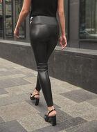 Vegan Leather Slim Leg Pants, Black